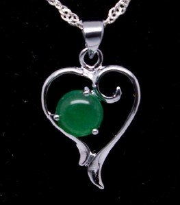 Silver Jade Heart Pendant Necklace [style1]