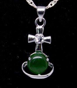 Silver Cross Crown Jade Pendant Necklace