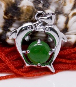 Silver Dolphins Jade Pendant Necklace