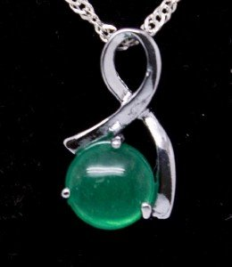 Silver Ribbon Jade Pendant Necklace