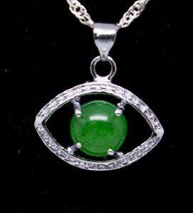Silver Jade Eye Pendant Necklace