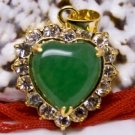 18K Gold Jade Heart Crystal Pendant Necklace [style1]