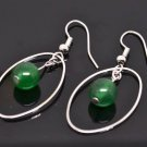 Silver Circle Jade Dangle Earrings