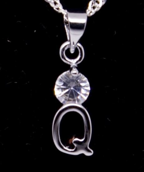 "Silver Crystal ""Q"" Initial Letter Pendant Necklace"