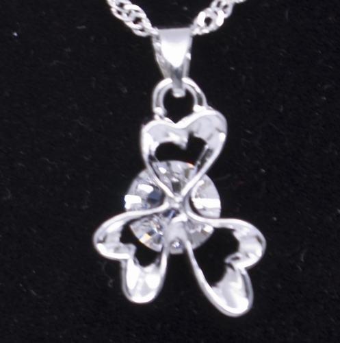 Silver Crystal Lucky Irish Shamrock Clover Pendant Necklace [style1]
