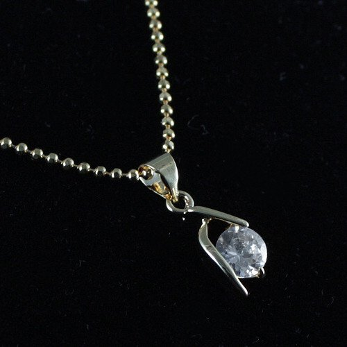 Gold Cubic Zirconia Pendant Necklace