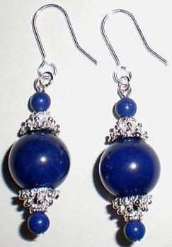 "Genuine Tibetan Silver ""Lapis Lazuli"" Earrings [style1]"