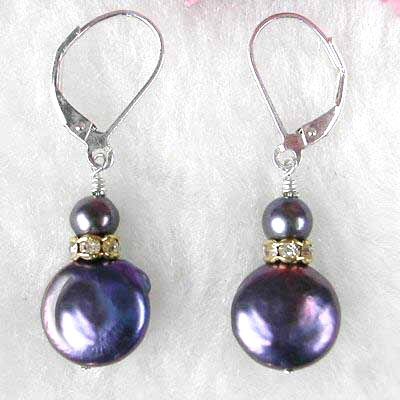 Silver Black Freshwater Pearl & Mother of Pearl Earrings