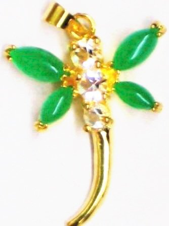 Gold Jade Dragonfly Pendant Necklace