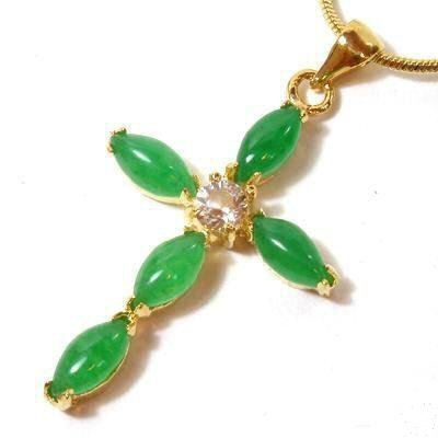 Gold Jade Crystal Christian Cross Pendant Necklace