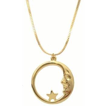 18KGP Gold Moon & Star Pendant Necklace