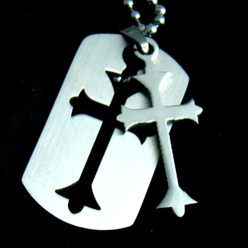 Silver Christian Cross Dog tag Pendant Necklace