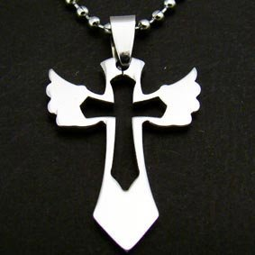 """Silver """"Winged Cross"""" Pendant Necklace"""