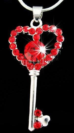 Ruby Red Crystal Heart Key Pendant Necklace