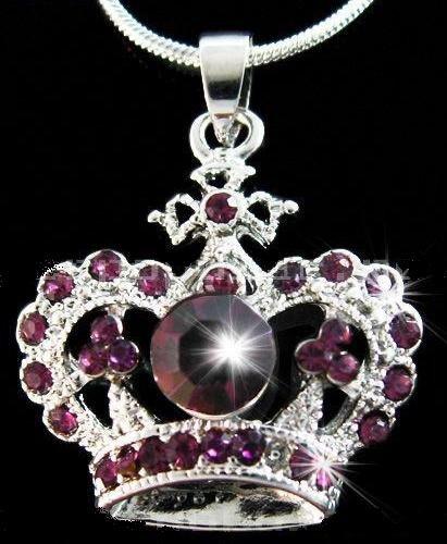 Purple Crystal Crown Pendant Necklace