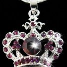 Purple Crystal Crown Pendant Necklace
