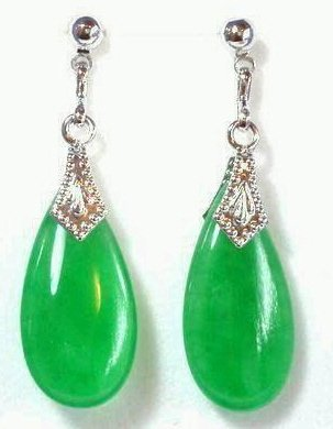 Genuine Green Jade Earrings [style3]