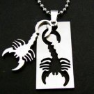 Scorpion Scorpio Zodiac Dogtag Pendant Chain Necklace