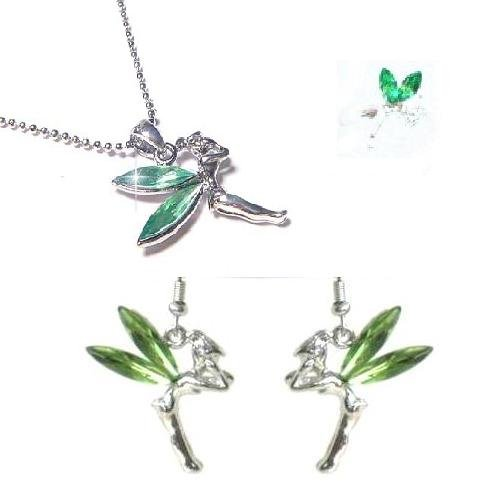 Green Tinkerbell Necklace Earrings Ring Set