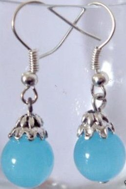 Genuine Blue Jade & Tibetan Silver Earrings