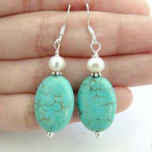 Turquoise & Freshwater Pearl Earrings [style1]