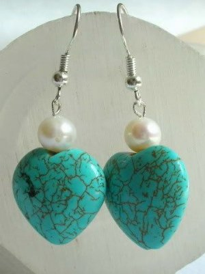 Turquoise & Freshwater Pearl Earrings [style2]