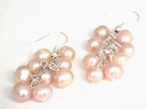 Genuine Lavender Pink Freshwater Pearl Chandelier Earrings