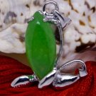 Silver Jade Flower Bud Pendant Necklace