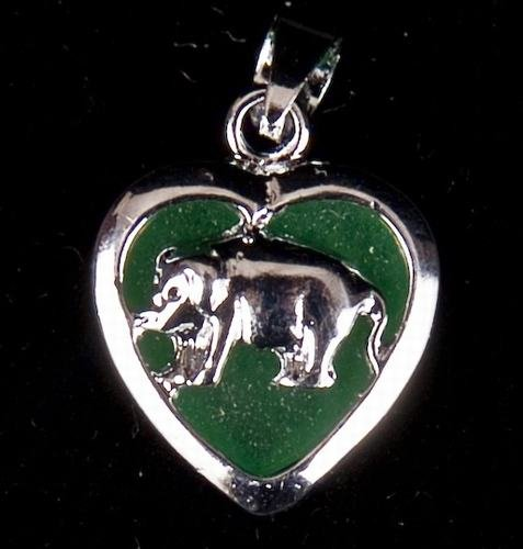 Silver Jade Pig (Chinese Zodiac) Heart Necklace