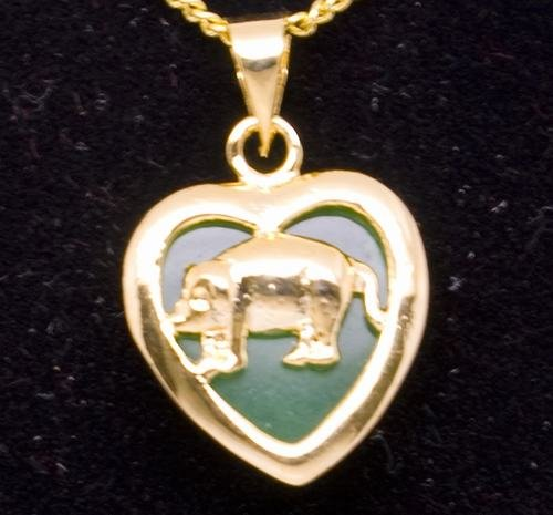 Gold Jade Pig (Chinese Zodiac) Heart Pendant Necklace