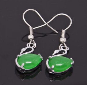 Silver Jade Swan Earrings