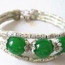 Tibetan Silver Green Jade Bracelet [style3]