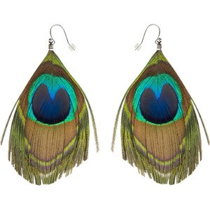 Cropped Peacock Feather Earrings
