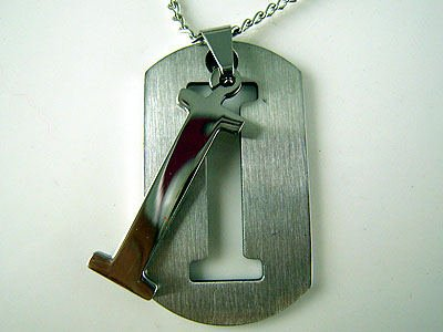 "Initial Letter ""I"" Name Dogtag Pendant Necklace"