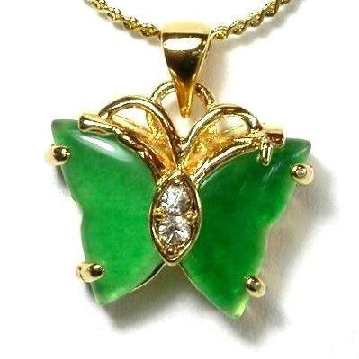 18K Gold Jade Butterfly Pendant Necklace [style1]