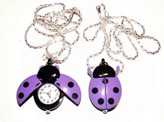 Purple Ladybug Watch Necklace