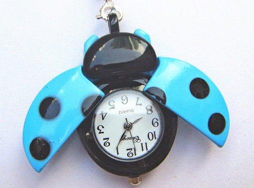 Blue Ladybug Watch Necklace