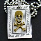 Gothic Skull Crossbones Dogtag Pendant Necklace