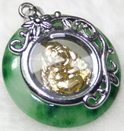 Silver Gold Jade Spinning Buddha (Buddhist) Pendant Necklace [style1]