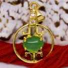 18K Gold Jade Crystal Chinese Lantern Pendant Necklace