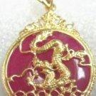 18K Gold Blood Red Jade Dragon Pendant Necklace