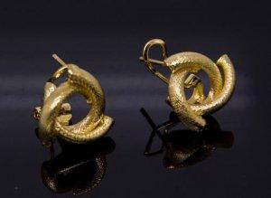 18K Gold Plated Spiral Twist Earrings