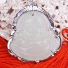 Silver Jade Buddha Buddhist Pendant Necklace [style7]