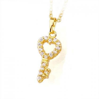 "18K Gold Crystal ""Key to my Heart"" Pendant Necklace"