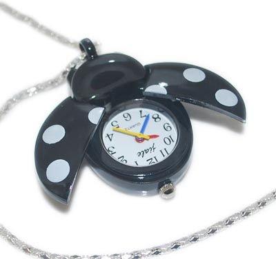 Black Ladybug Watch Pendant Necklace