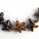 Lot of (5) Tiger's Eye Star Starfish Charm Pendants