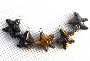 Lot of (5) Tiger&#039;s Eye Star Starfish Charm Pendants