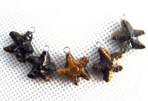 Lot of (5) Tiger's Eye Star Starfish Charm Pendants