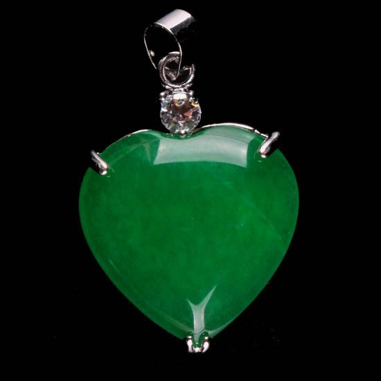 Silver Jade Heart Pendant Necklace