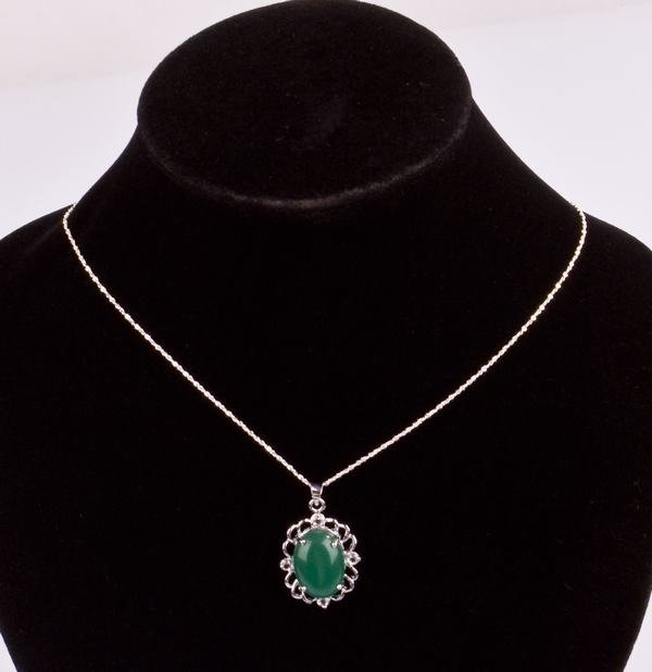 Silver Green Stone Crystal Pendant Necklace